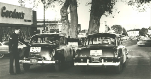 Patrol cars parked in the middle of Main Street under a large oak tree.  Circa 1953