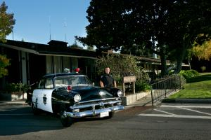 """""""LAPOA"""" a 1954 Ford, our beloved replica of our first Los Altos Police patrol car."""