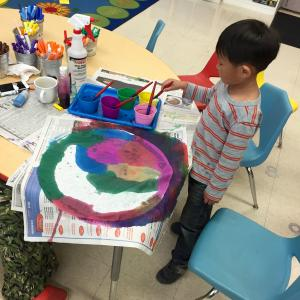 Painting activity in Kinder Prep