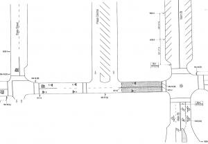 Map of First Street closure: Main Street to Plaza Central
